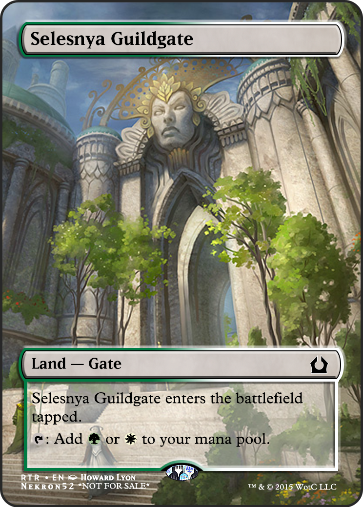Selesnya Guildgate  I've decided i'm gonna Foil out my EDH deck with Super Art Proxies.