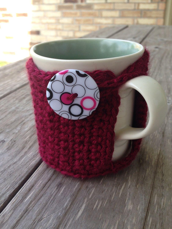 Texas A & M Crochet Coffee Mug Cozy - Aggie Coffee Cozy - Retro Coffee Cozy - Coffee Accessories - Maroon Cozy - Mug Cozy, Eco Friendly Cozy by TheHookster on Etsy