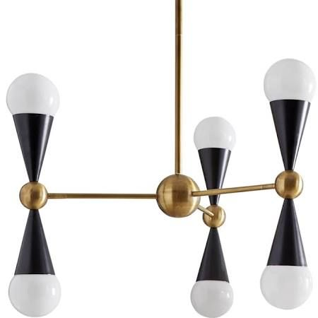 Jonathan Adler Caracas 6-Light 3-Arm Chandelier, Polished Brass/Black | Chandeliers | 21547