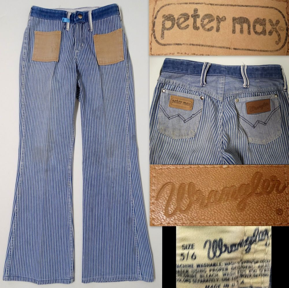 036035c0 Vintage 1960-70's Wrangler PETER MAX Jeans Bell Bottoms Striped Engineer  Blue/White HIPPIE 5/6 RARE SOLD!