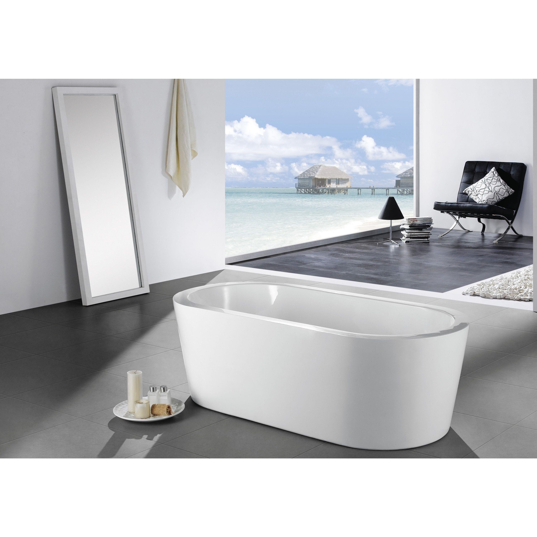 Master bedroom jacuzzi designs  Eviva Ramo White Acrylic inch Freestanding Bathtub White