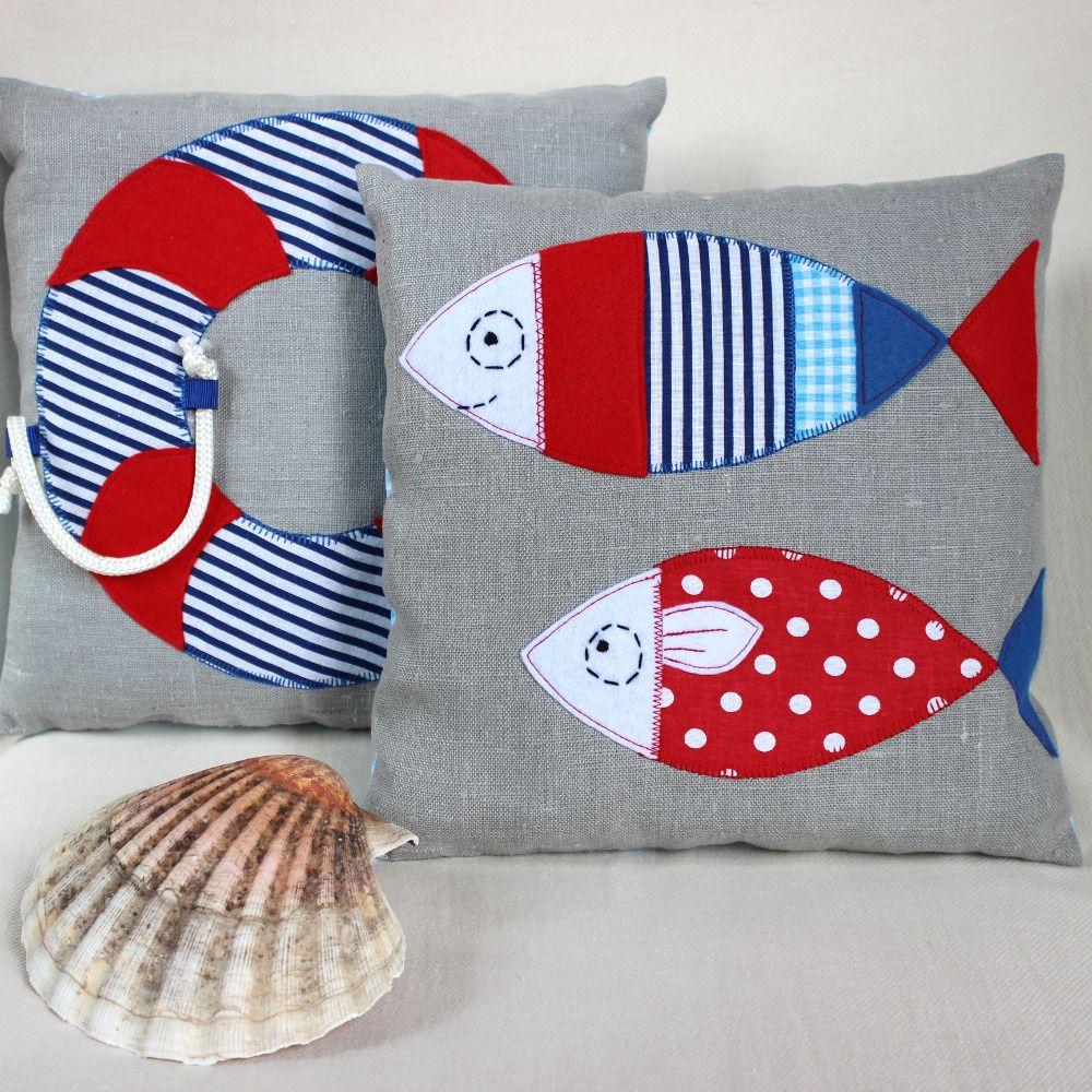 Coussin en lin gris style marin deco chambre enfant d coration pour enfants par popelineco - Chambre enfant marin ...