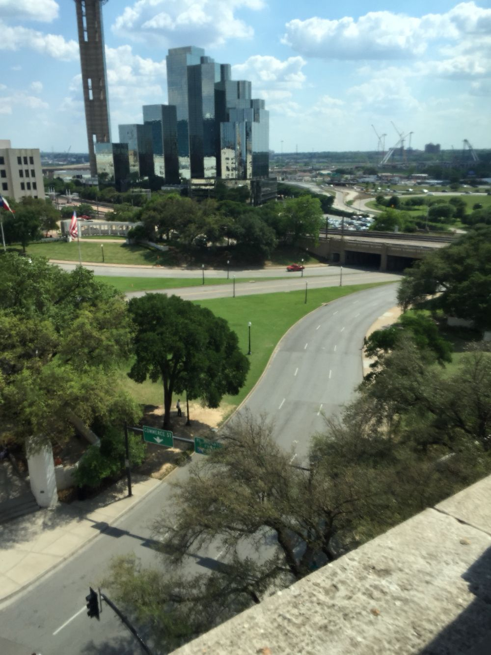 View from the sixth floor book depository. JFK assassination