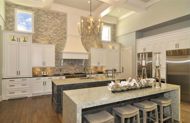 Double Island Gourmet Kitchen Quartz Countertops Twin Sub Zs Stacked Stone Wall Chandelier