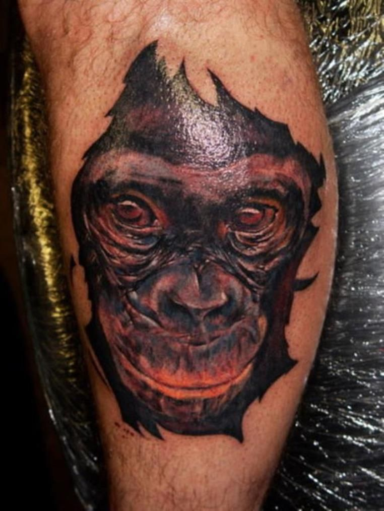 9 monkey face tattoo monkey tattoos knee tattoo tattoo