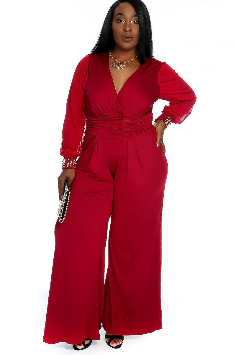 b64f63bbb Look sexy & classy in this jumpsuit features; bold Wine color, long  sleeves, with high polished studded beaded detailing, v-cut, pleated,  finished off with ...
