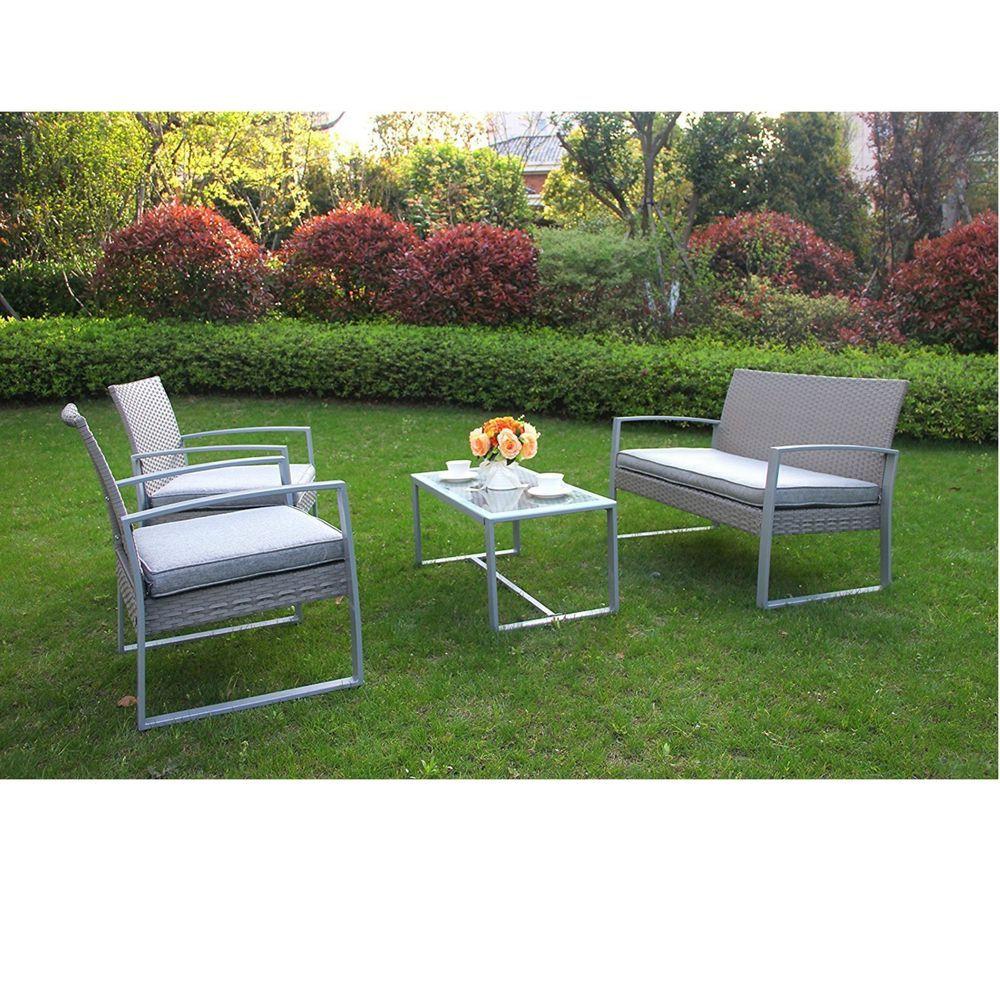 Outdoor yard rattan pc wicker garden furniture set sofa chair