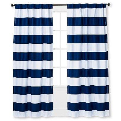 "Pillowfort 84/"" Printed Stripe Blackout Window Curtain Panel Gray Blue White"