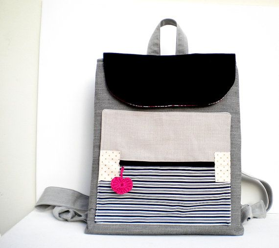 Handmade backpack grey jeans  white and black by Vallyscreations, $66.00