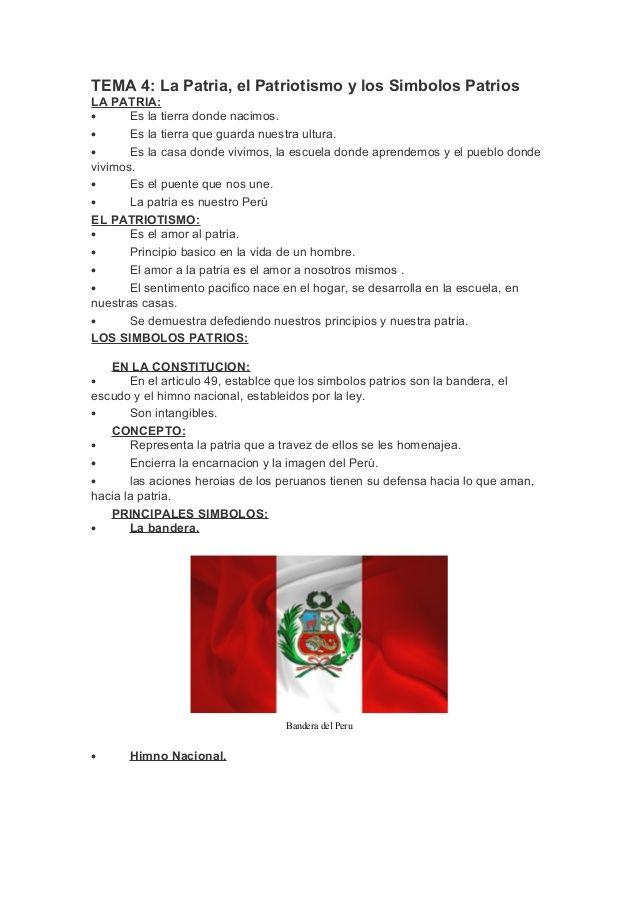 TEMA 4: La Patria, el Patriotismo y los Simbolos Patrios LA PATRIA ...