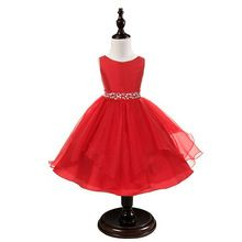 Red Christmas Girl Dress For Evening Prom Party Costume Kids Clothes For Teenagers Girl Clothes Princess Little Bridesmaid Dress(China (Mainland))