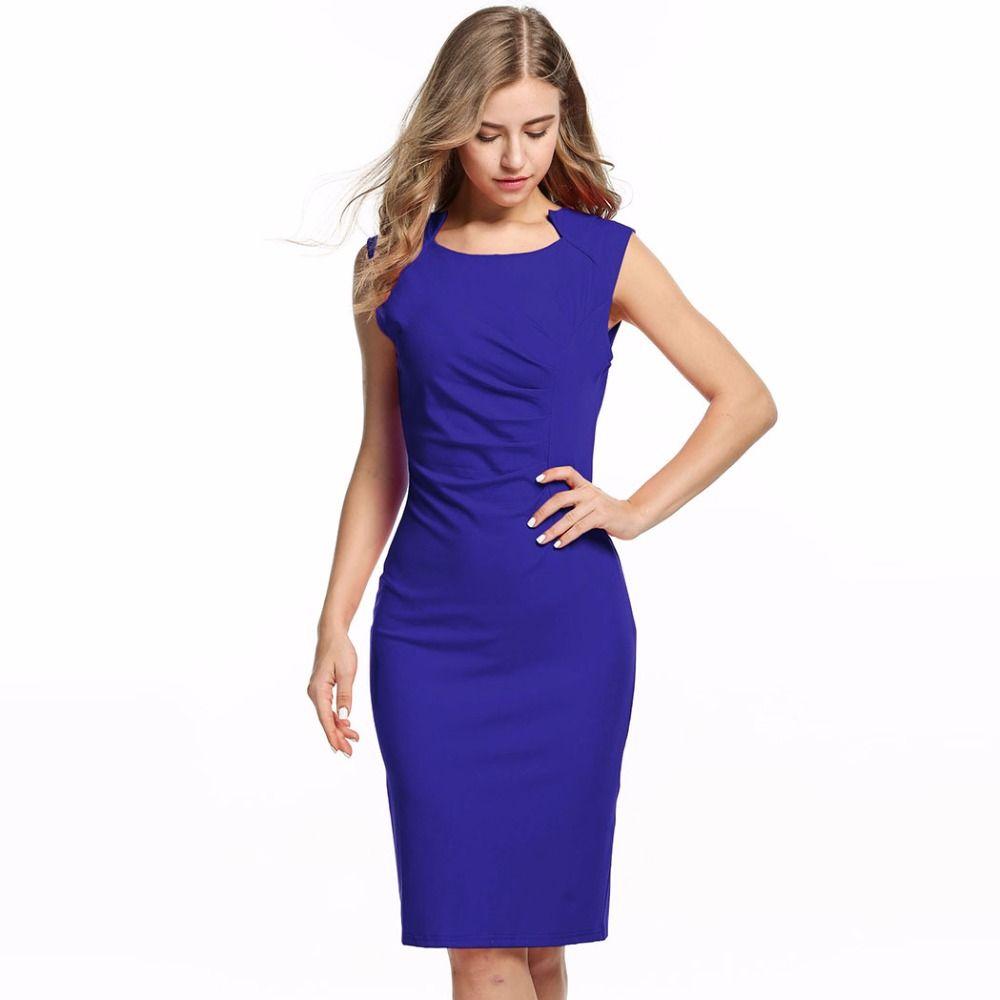 Dress Women Vestidos 2017 OL Office Dresses Sleeveless Pleated Waist ...