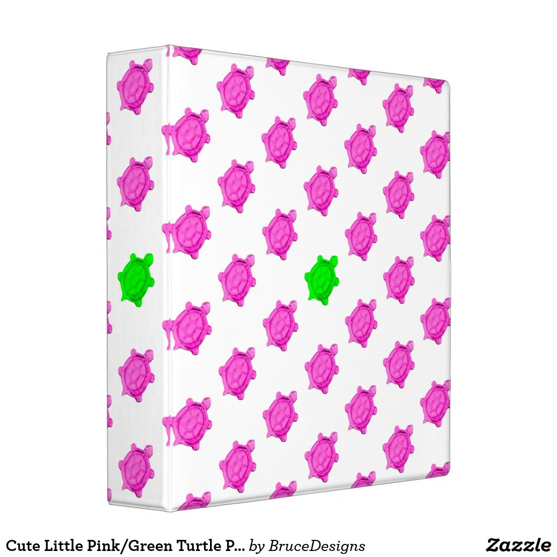 Cute Little Pink/Green Turtle Pattern 3 Ring Binder
