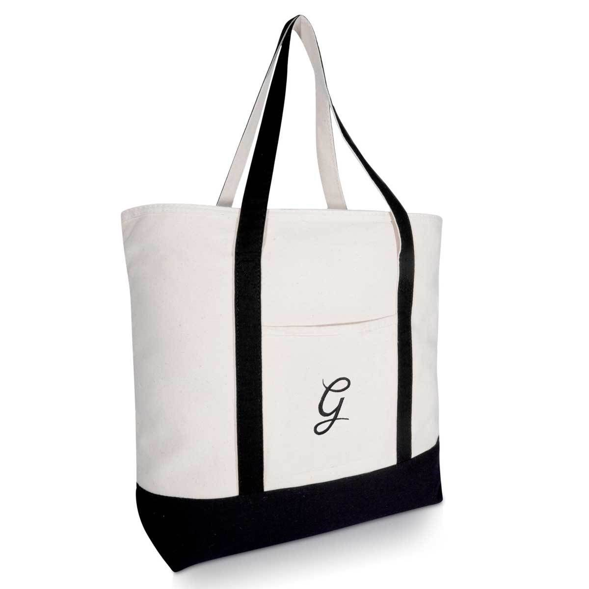 303dcad5c DALIX Personalized Tote Bag Monogram Black Initial Personalized Tote Bags, Black  Letter, Monogram Alphabet