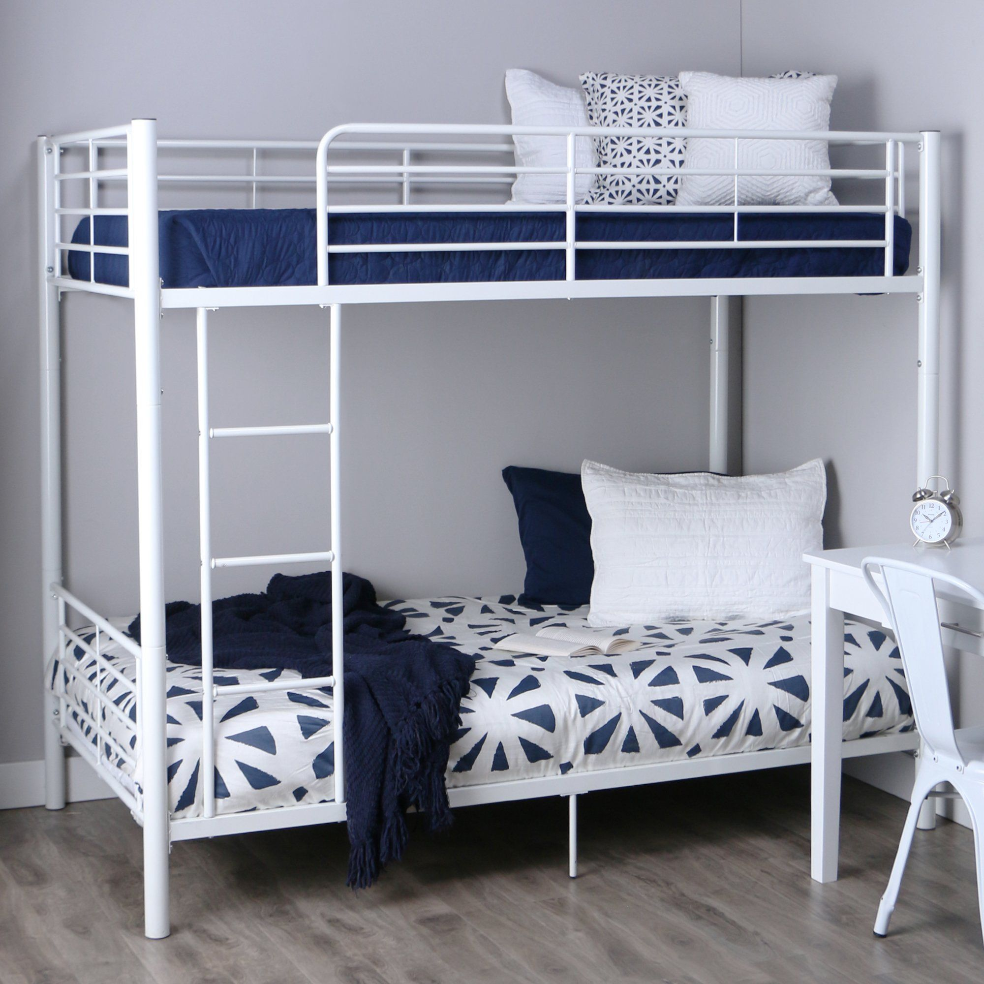 Pine loft bed with desk  Walker Edison TwinOverTwin Metal Bunk Bed White  Furniture