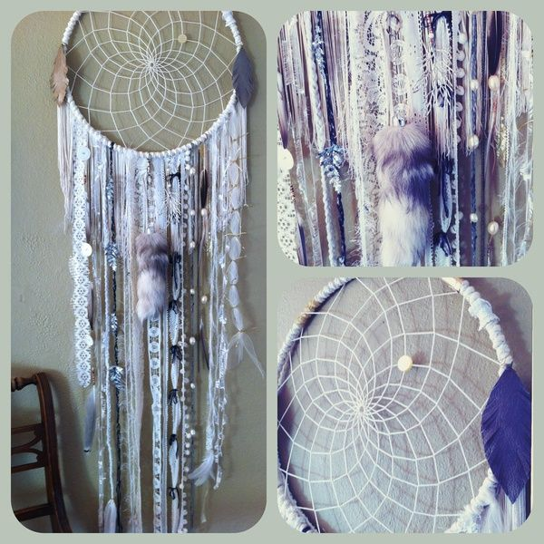 Huge Dream Catchers For Sale Huge White Dream Catcher What a great idea to use my extra bits 18