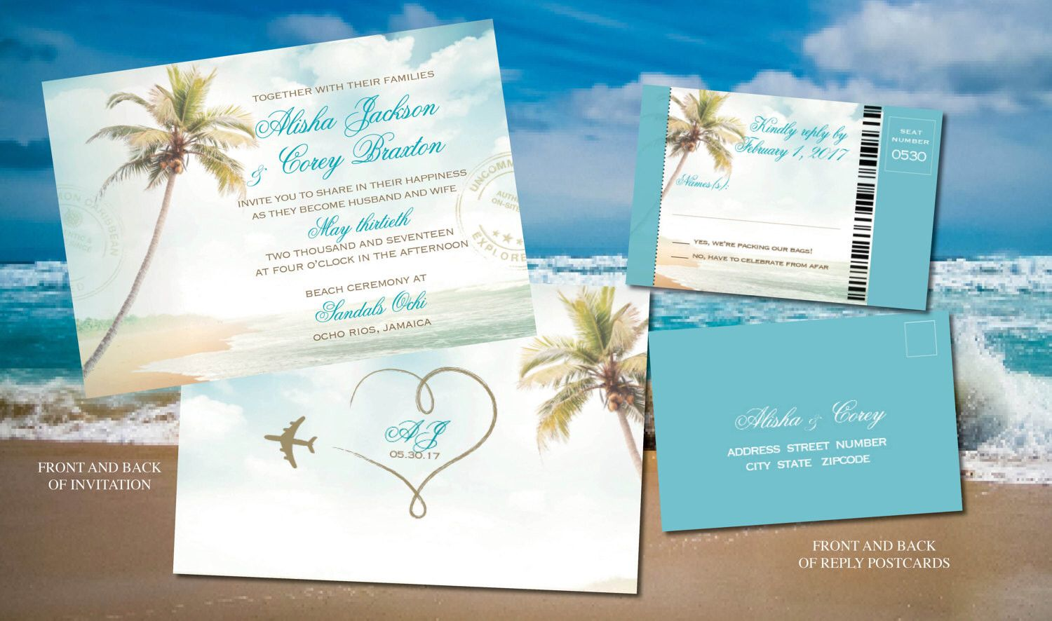 Beach Ceremony Wedding Invites in Turquoise, Gold | Destination ...