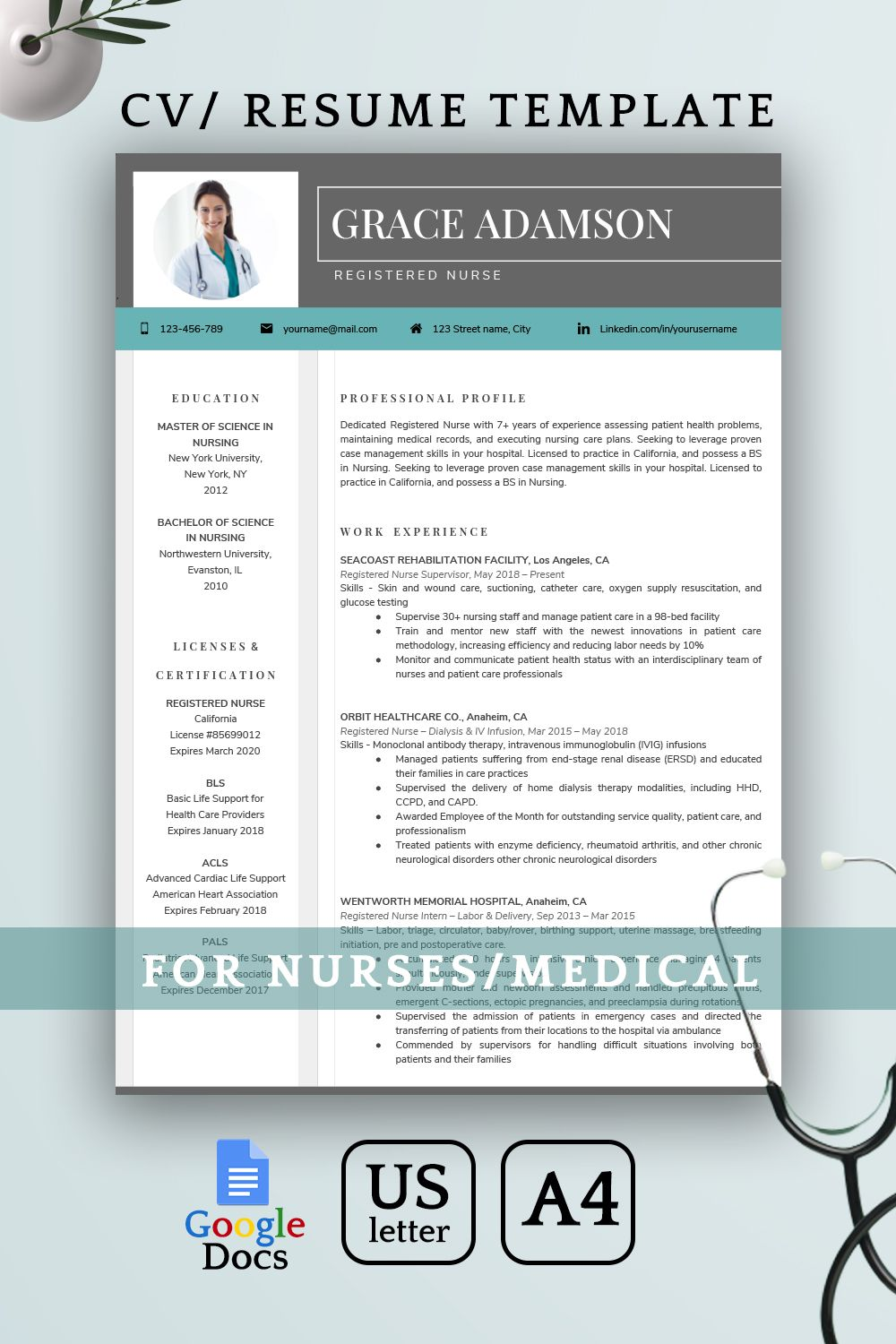 Google Docs Resume Template, Nurse Resume Template