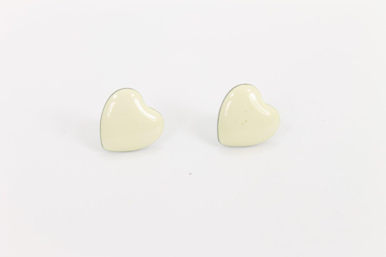 small heart earrings ivory white posts. $6.00, via Etsy.