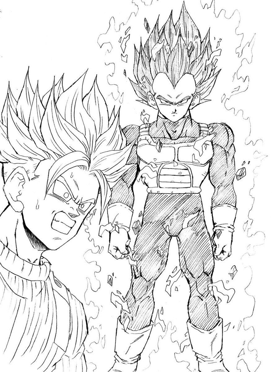 Trunks SSJ2 vs SSB Vegeta   Dibujos de dragón, Goku dibujo ...