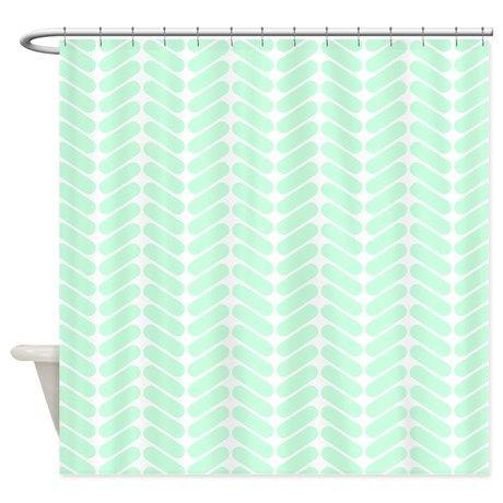 Mint Green Zigzag Pattern Shower Curtain By Metarla Zig Zag