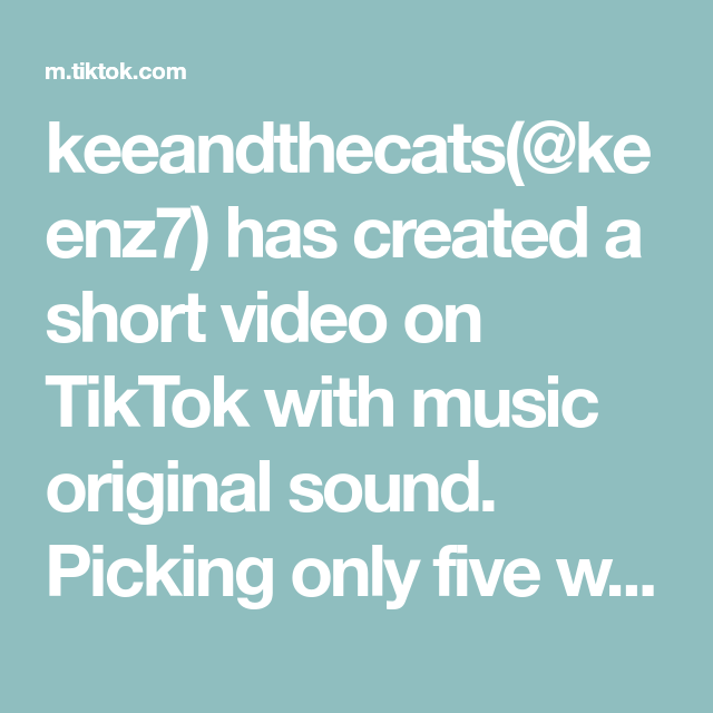 Keeandthecats Keenz7 Has Created A Short Video On Tiktok With Music Original Sound Picking Only Five Was So Har Stand Up Comedians Cricut Tutorials Pick One