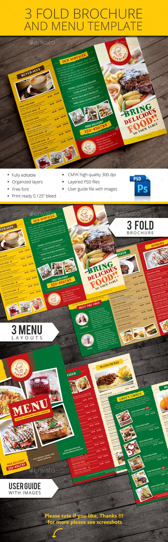Rustic Trifold Restaurant Brochure And Menu Template #Print