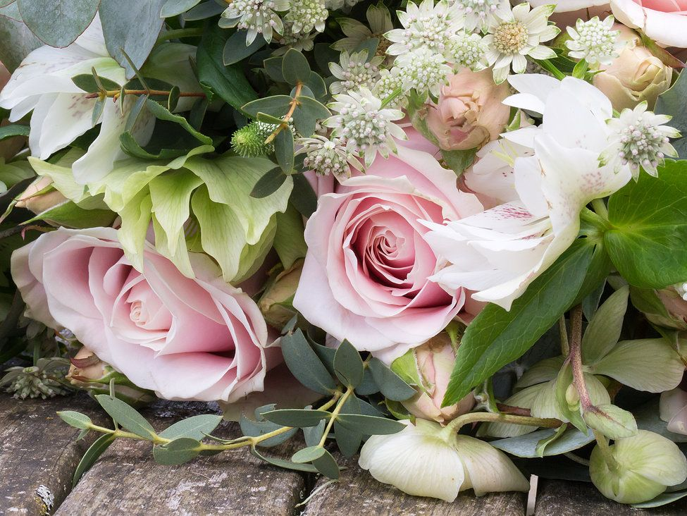 Pastel coloured bunch of flowers with Avalanche pink roses ...