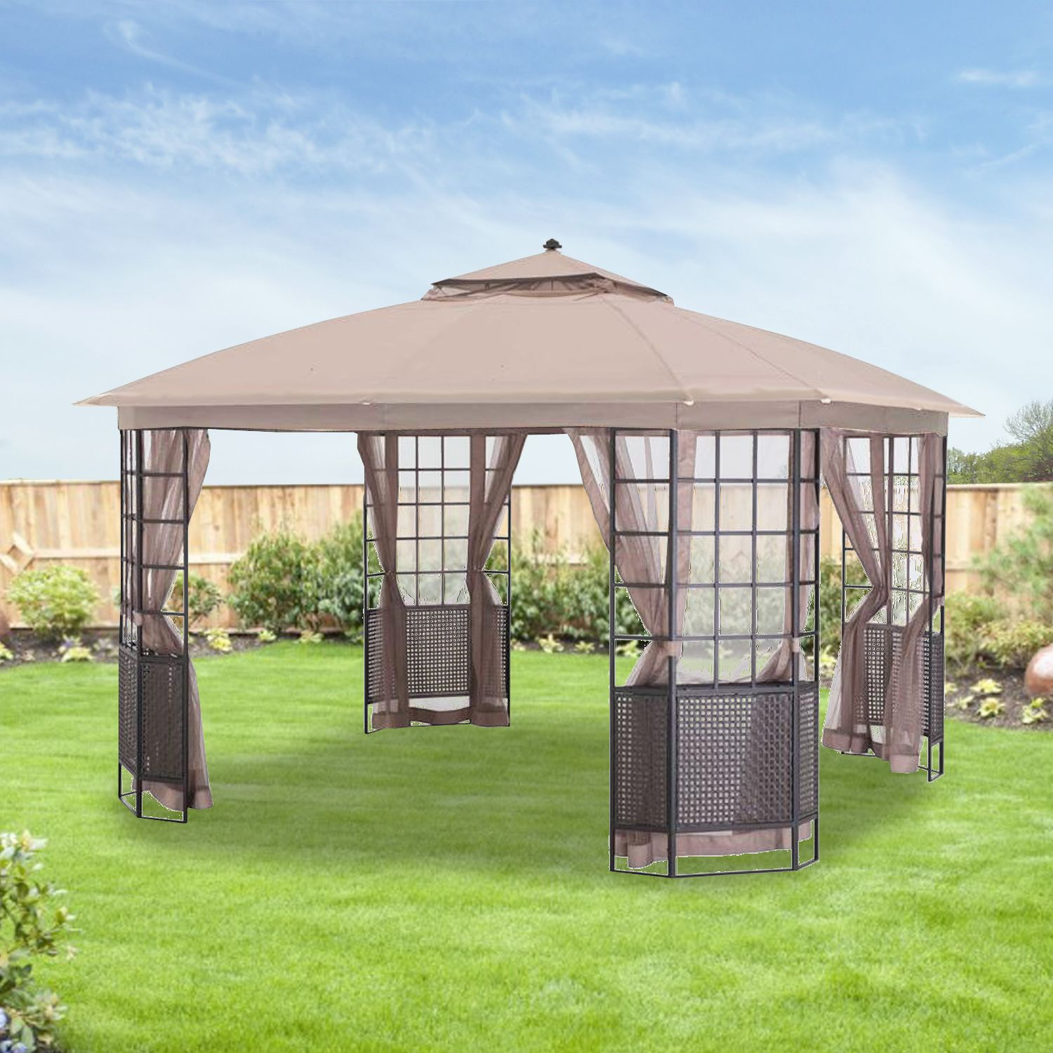 Replacement Canopy For Bay Grid 12x12 Gazebo Riplock 350 Canopy Outdoor Backyard Canopy Gazebo