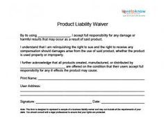 Product Liability Waiver  Liability Waiver
