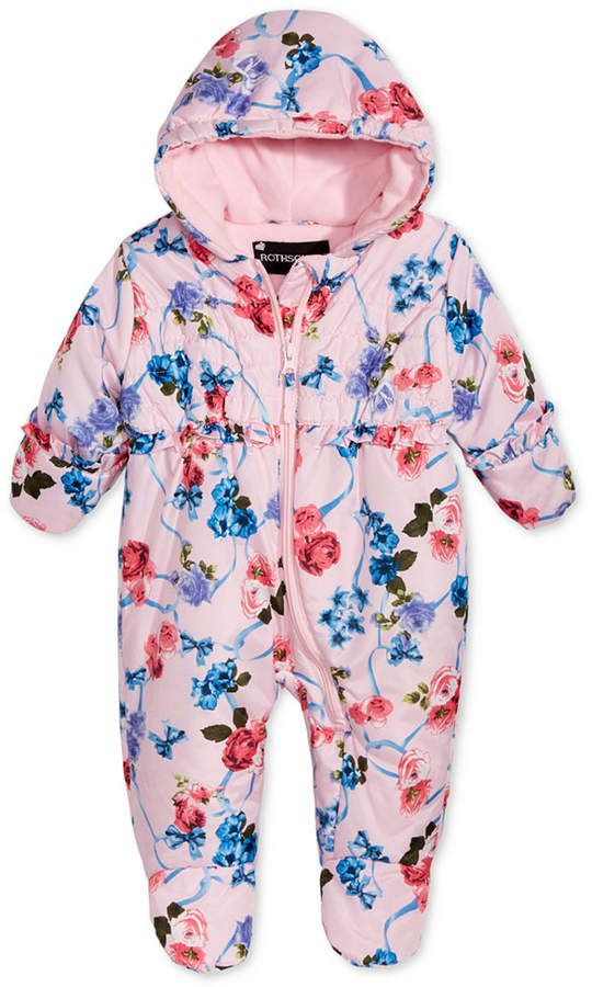 d62221bf4755 S. Rothschild Baby Girls Hooded Printed Footed Pram - Pink 3-6 ...