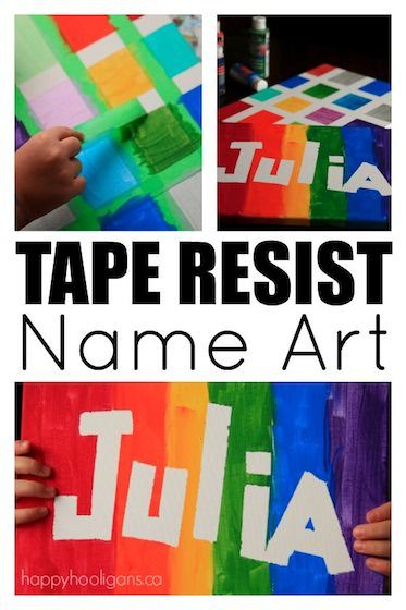 Tape Resist Name Art For Kids Of All Ages Happy Hooligans Arts And Crafts For Teens Toddler Art Projects Easy Art Projects