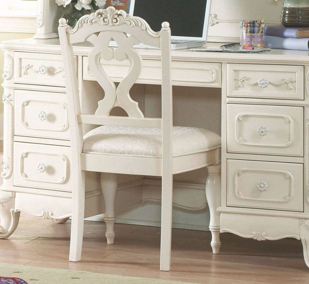 Cindrella Writing Desk Chair In White by Homelegance at ...