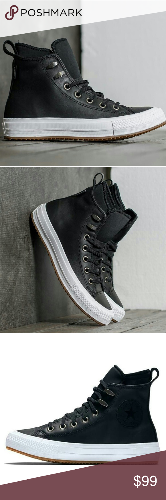 Converse Lunarlon Insole For Sale Sale Converse Waterproof Black Leather Boot Shoe Nwt Black