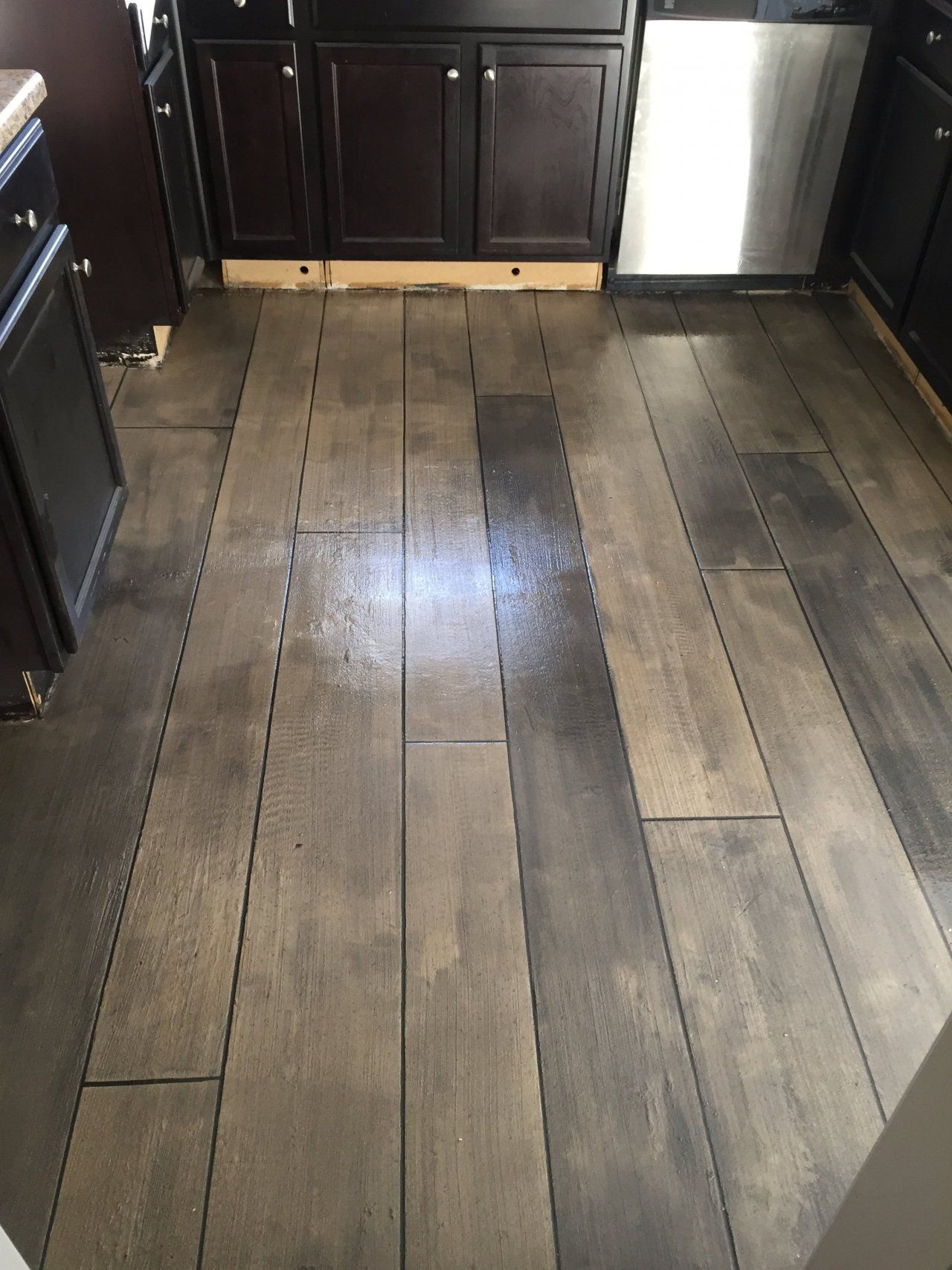 Fayetteville North Carolina Concrete Wood Custom Stained Overlay Decorative Interior Kitchen