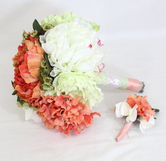 Coral white peony arrangement bridal bouquet boutonniere coral coral white peony arrangement bridal bouquet boutonniere coral white hydrangea white coral mightylinksfo