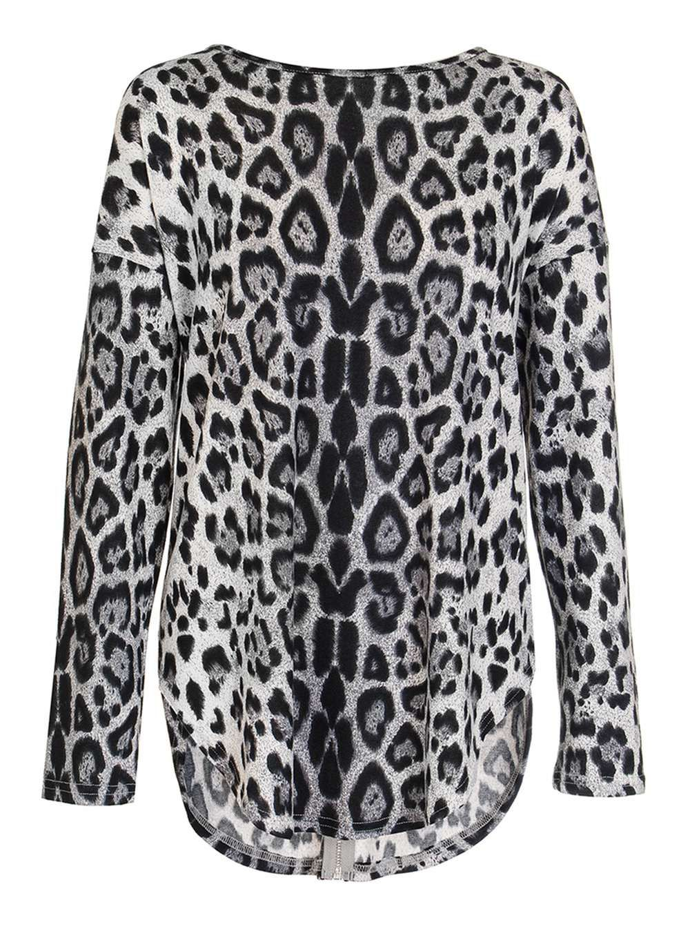 Quiz grey leopard print zip back top products