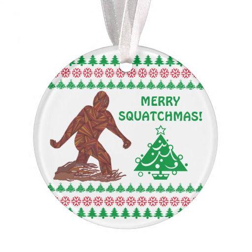 bigfoot sasquatch yeti cryptid funny christmas tree ornament merrysquatchmas - Bigfoot Christmas Ornament