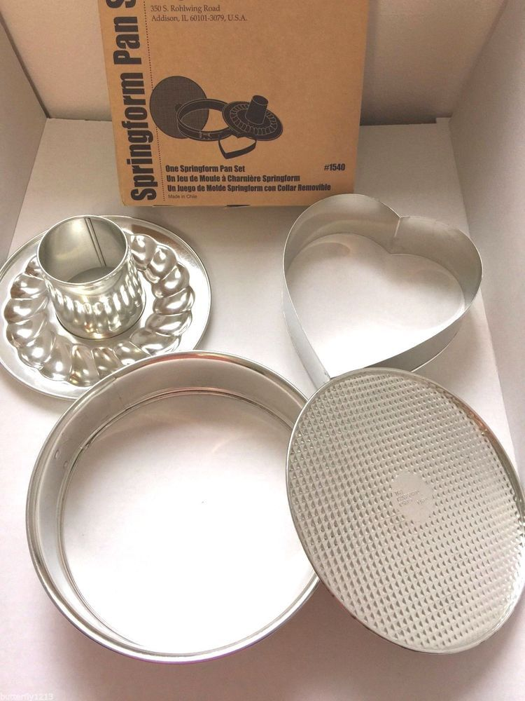 Pampered chef springform pan set #1540 fluted ring heart insert ...
