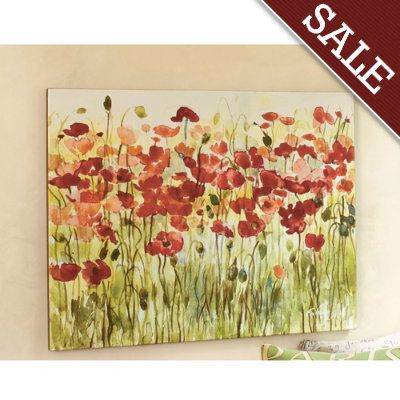 Sea of Poppies Giclee Print | Yellow accents, Bedrooms and Blue walls