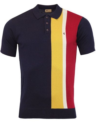 e2ae1f2c6d9 Gabicci Vintage 'Marco' men's retro mod stripe panel knitted polo shirt in  navy. - Short sleeve