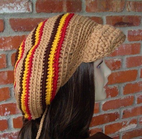 Large Visor Dread Tam Brown Stripes Hippie Rasta Dreadlock Hat ...