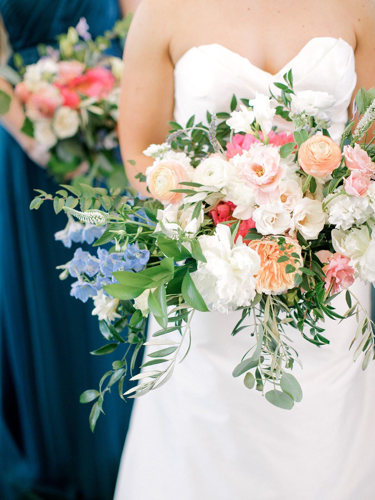 Colorful Summer Sensation Bridesmaid bouquet, Light blue