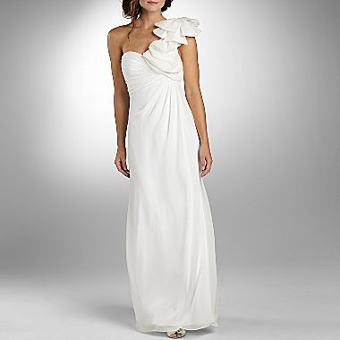 Liliana Ruffle One Shoulder Ruched Wedding Dress Jcpenney
