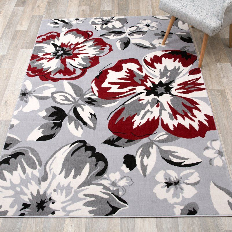 2305 Gray Black Red 5x7 8x11 Area Rug Modern Contemporary Carpet