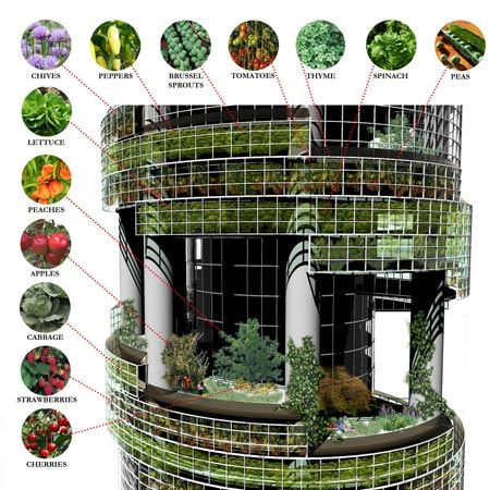 office tower with crops on the outside. http://sustainabledesignupdate.com/2008/08/vertical-farming/#