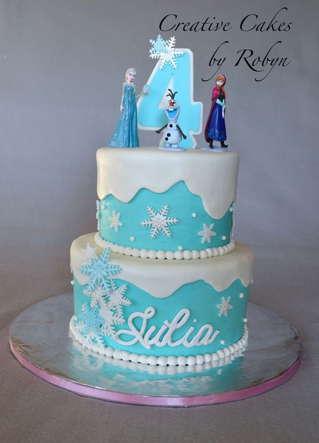 Frozen themed birthday party cake with Disney Store figurines