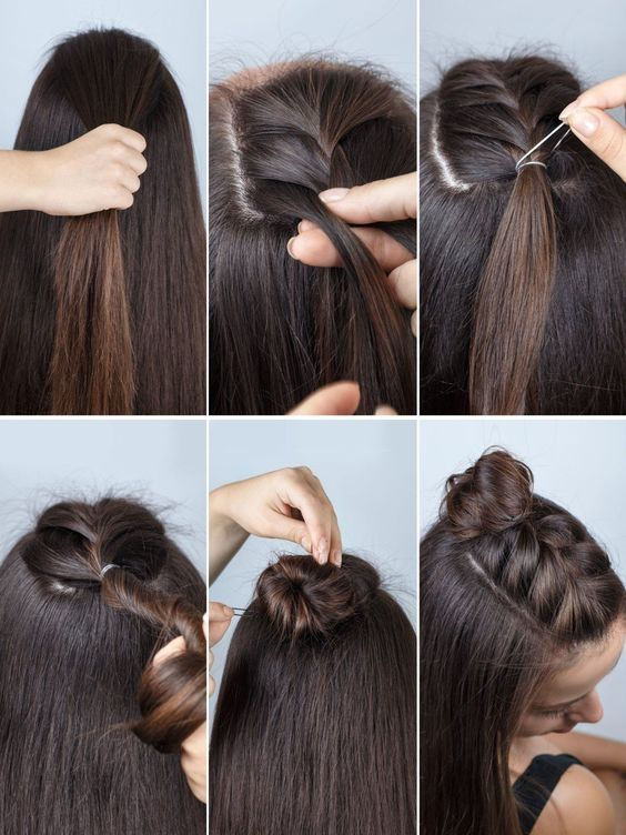 Step By Step The 10 Most Beautiful Hairstyles For Re Styling Half Buns Are More Fashionable Than Ever And The Brai Hair Styles Hairstyle Curly Hair Styles