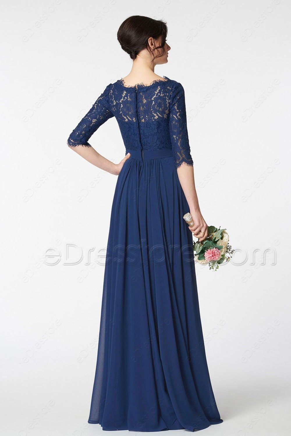 Navy Blue Lace Modest Bridesmaid Dress With Sleeves Bridesmaid Dresses With Sleeves Mother Of The Bride Dresses Bridemaids Dresses Long