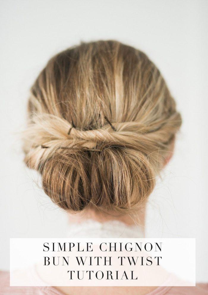 Simple Hair Tutorial // Chignon Bun with Twist - Lynzy & Co.
